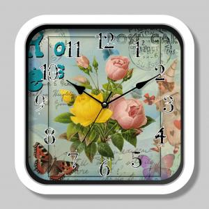 Flower painting quartz wall clock