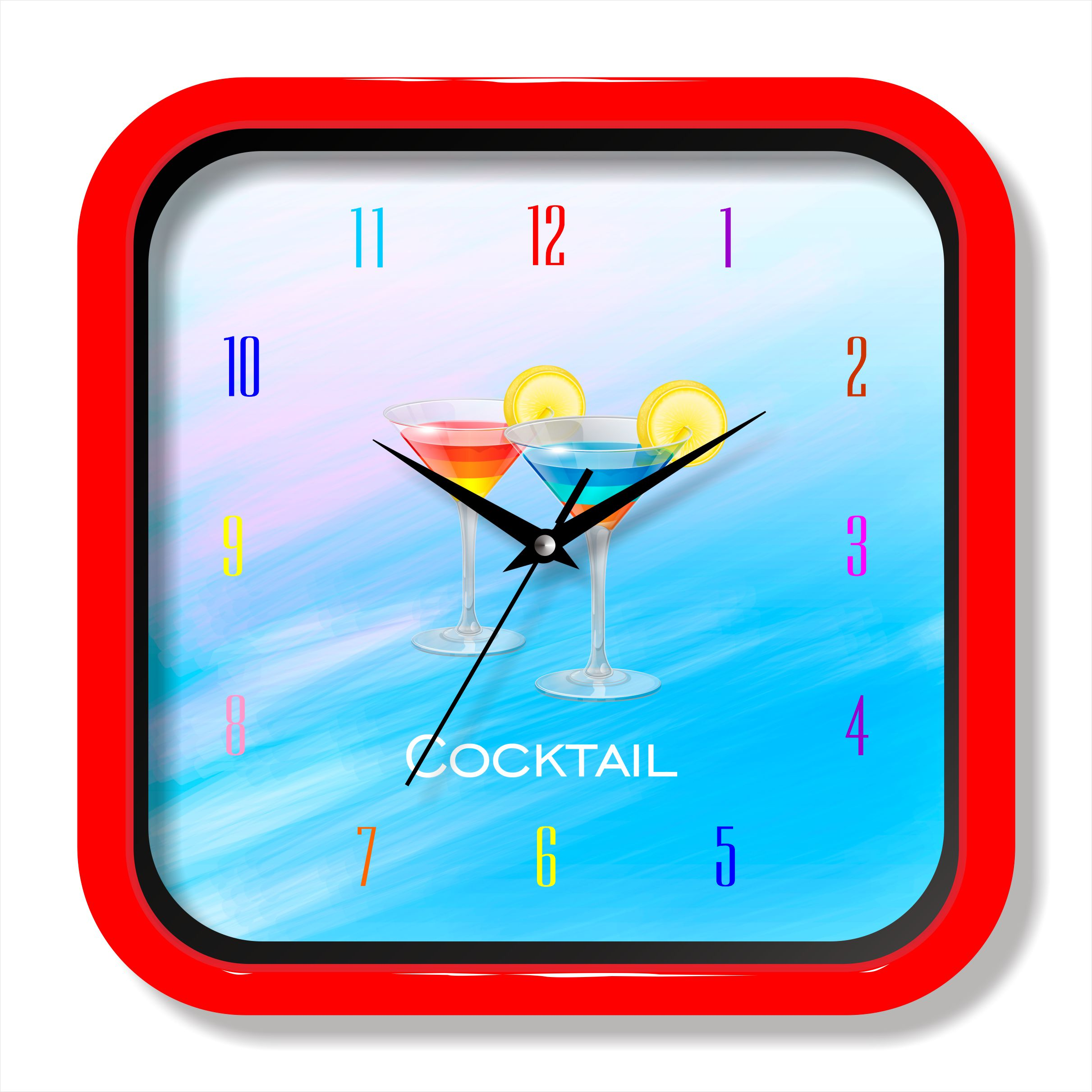 Square Plastic wall Clock