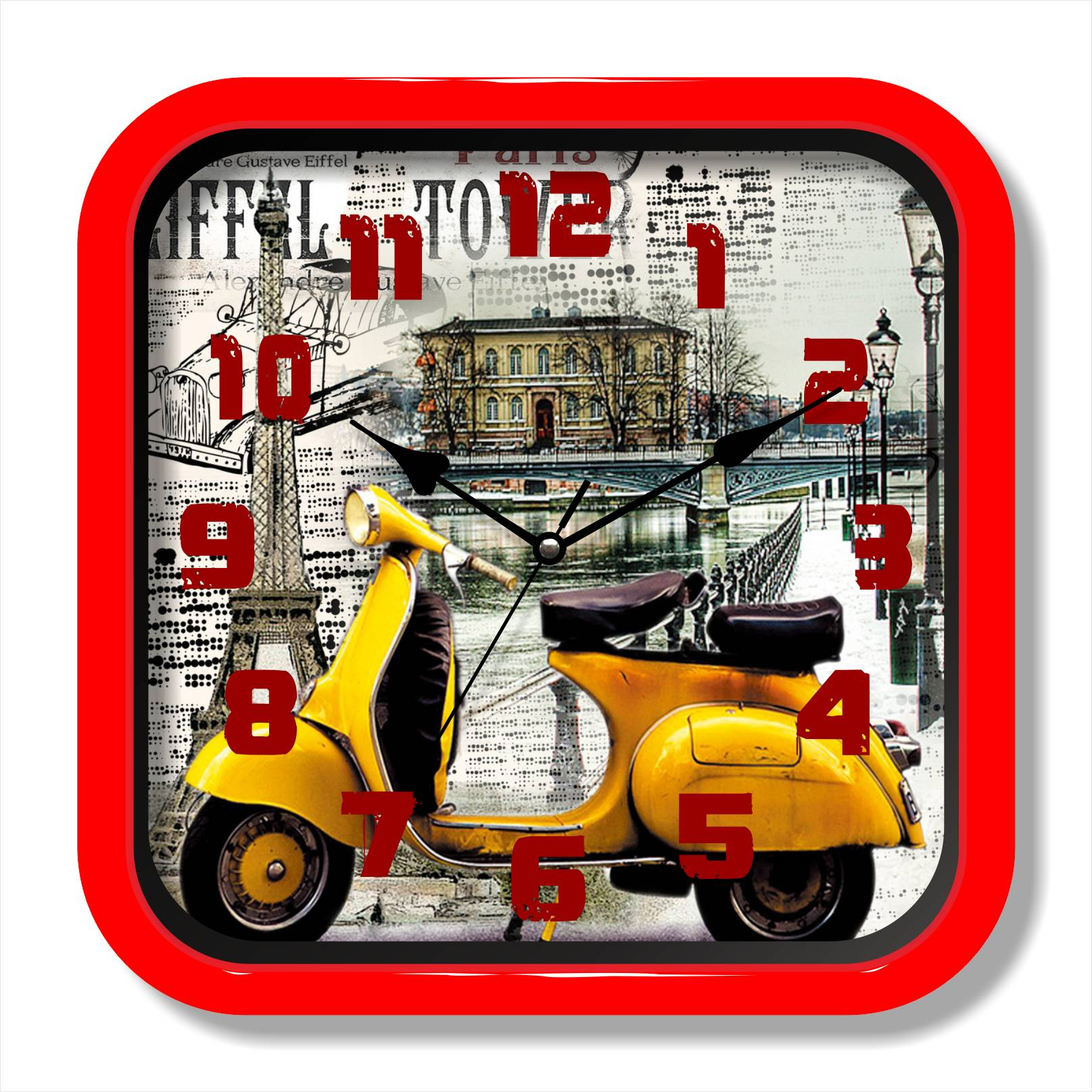 Retro moto painting wall clock