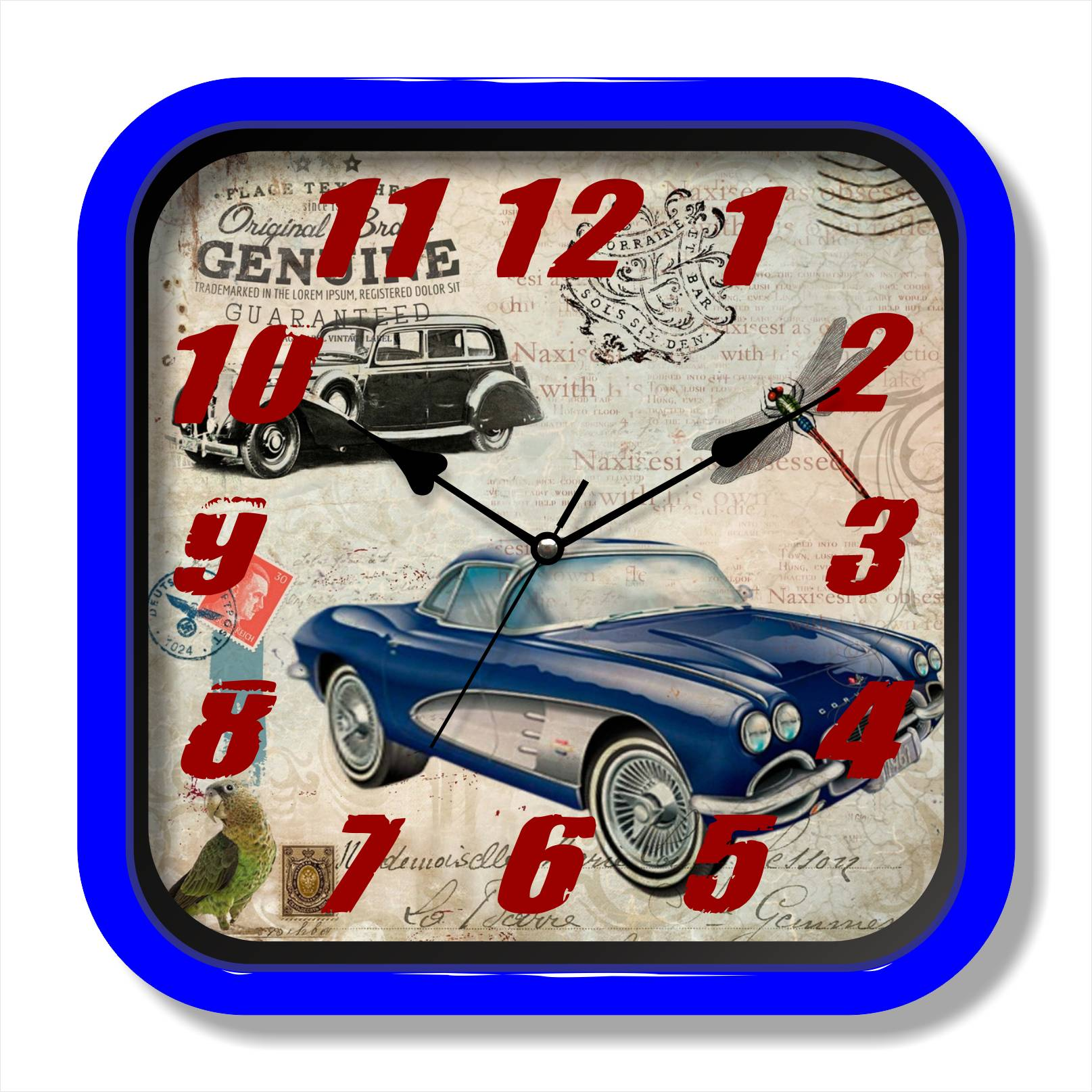 Retro car painting quartz clock