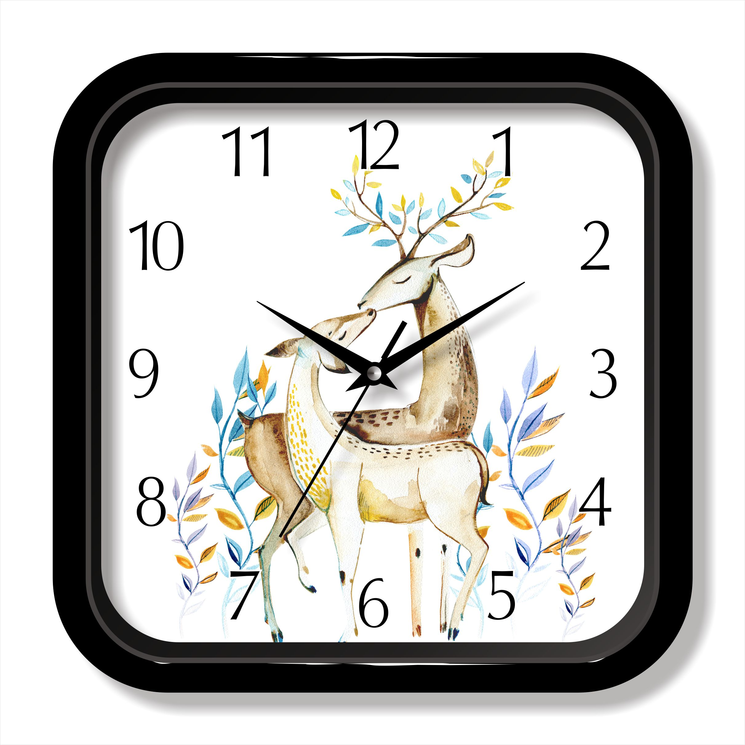 Modern design deer painting quartz clock