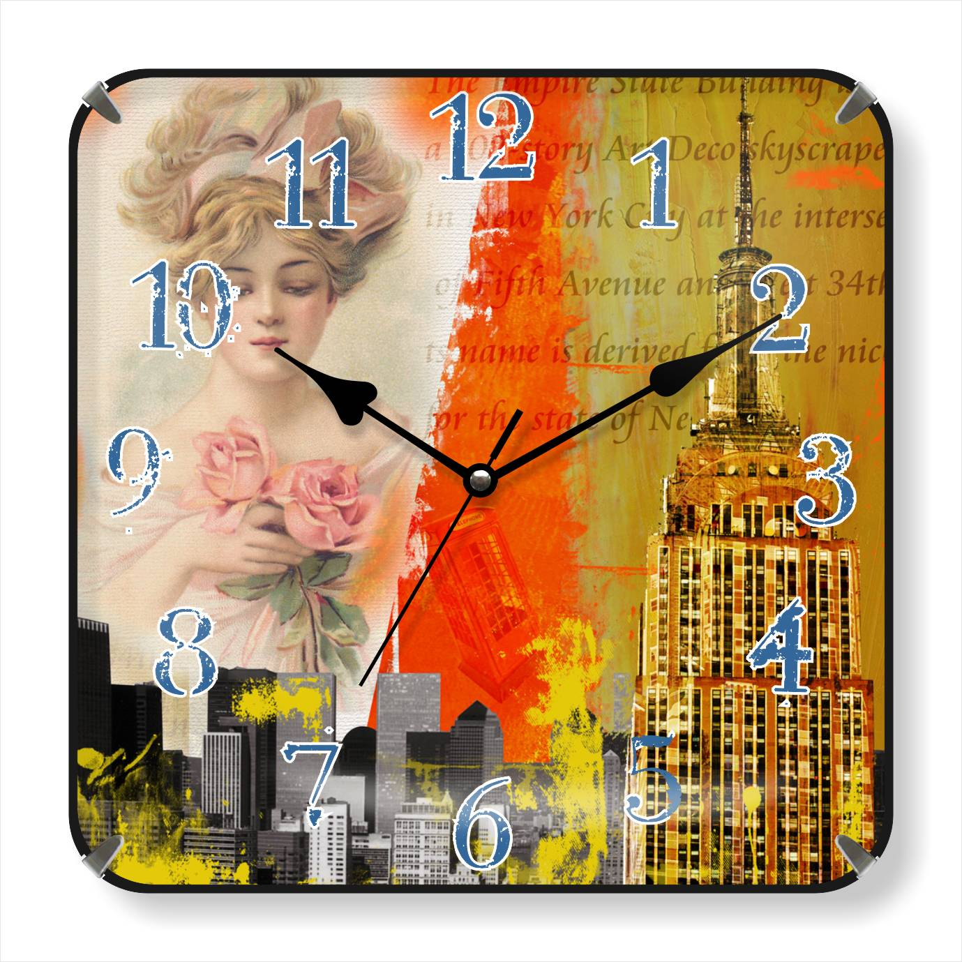 Customized logo painting wall clocks China factory